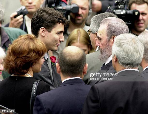 Cuban President Fidel Castro greets Justin Trudeau the son of former Canadian Prime Minister Pierre Trudeau after arriving at the Notre Dame Basilica...
