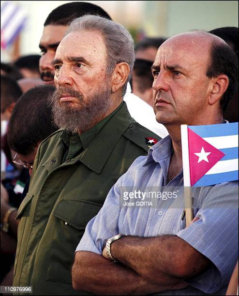 Cuban President Fidel Castro is seen on July 26th 2006 in Bayamo with vice President Carlos Lage right during the celebration of the 53 rd...