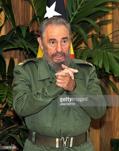 Cuban President Fidel Castro is seen on Monday in Havana Cuba on December 12th 2005 at the Revolution Palace as he welcomes Mari Alkatiri Prime...