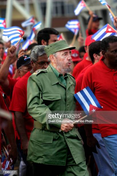 Cuban President Fidel Castro leads a march of more than a million Cubans against terrorism in May 17 2005 Havana Cuba Castro demanded the arrest of...