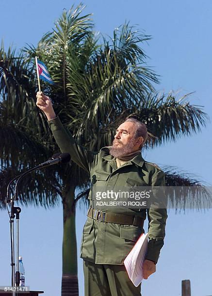 Cuban President Fidel Castro made a speech 27 January 2001 in San Jose de las Lajas in La Havana Cuba ratifyng the desire of the Cuban people to...