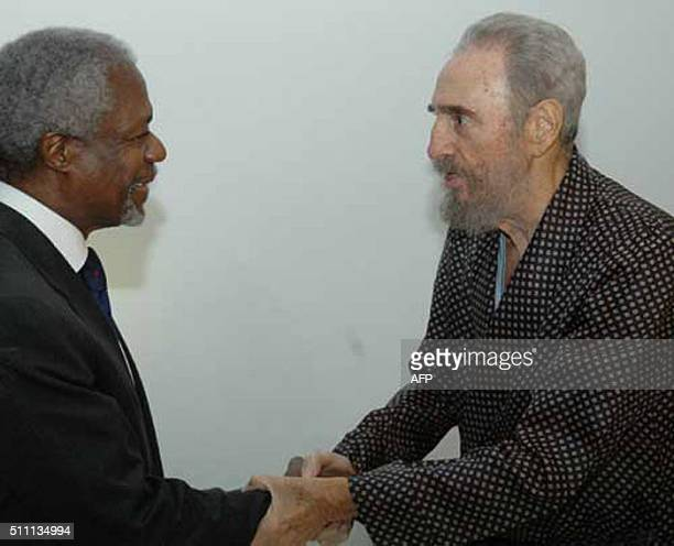 Cuban President Fidel Castro shakes hands with the Secretary General of the United Nations Kofi Annan at an Hospital in Havana on September 14th 2006...