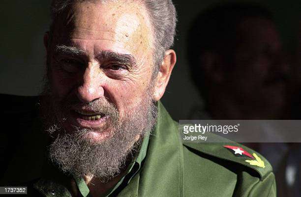 Cuban President Fidel Castro speaks at the opening of the new 'Playa Pesquero' hotel January 212003 in the Guardalavaca tourist area of Holguin...