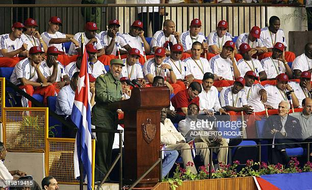 Cuban President Fidel Castro speaks during a ceremony in Havana 21 March 2006 in recognition of the second place obtained by the Cuban baseball...