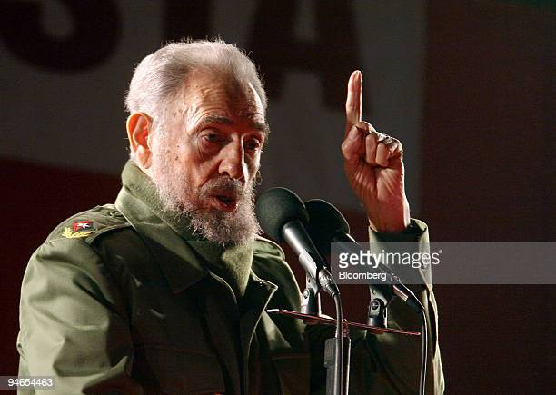 Cuban President Fidel Castro speaks during a rally following the Mercosur Summit in Cordoba Argentina Friday July 21 2006 The Cuban President on his...