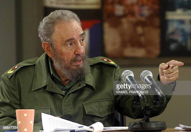 Cuban President Fidel Castro speaks during the broadcasting of a TV programme 22 January 2006 in Havana Castro called the citizens to take part...