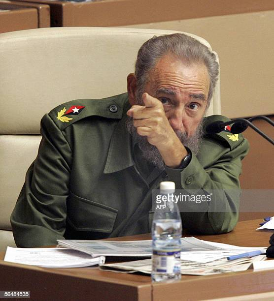 Cuban President Fidel Castro speaks during the plenary session of the Cuban Parliament 23 December, 2005 in Havana. Castro on Friday called US...