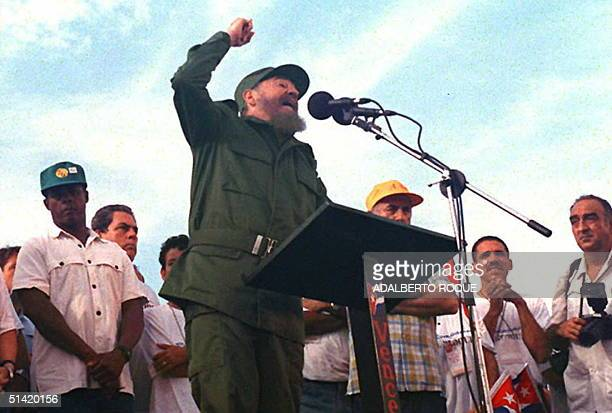 Cuban President Fidel Castro speaks to a crowd demonstrating against the US economic embargo against Cuba 05 August in Havana Castro accused...