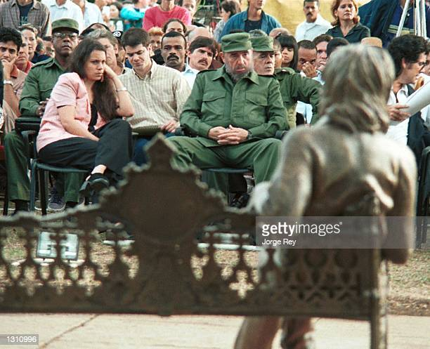 Cuban President Fidel Castro unveils a statue of John Lennon on the 20th anniversary of the former Beatle''s death December 8 2000 in Havana Cuba The...