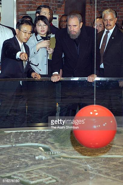 Cuban President Fidel Castro visits the Hiroshima Peace Museum on March 3 2003 in Hiroshima Japan