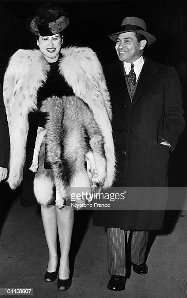 Cuban President Fulgencio BATISTA greets his wife Martha FERNANDEZ at Penn station upon her arrival in New York