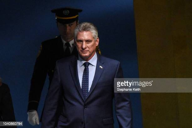 Cuban President Miguel DíazCanel Bermúdez arrives for a speech at the United Nations General Assembly on September 26 2018 in New York City World...