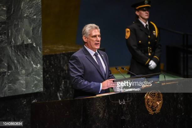 Cuban President Miguel DíazCanel Bermúdez delivers a speech at the United Nations General Assembly on September 26 2018 in New York City World...