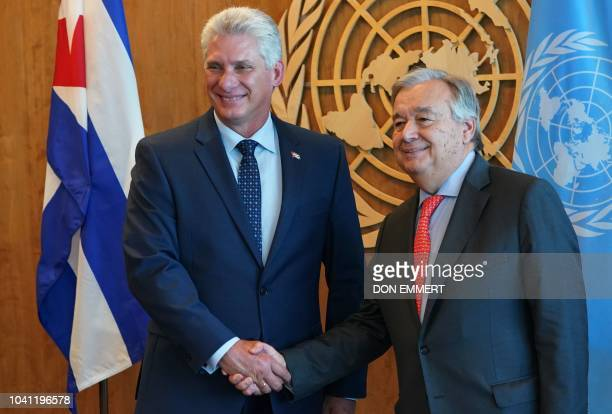 Cuban President Miguel DíazCanel meets with UN Secretary General Antonio Guterres in New York on September 26 on the sidelines of the United Nations...