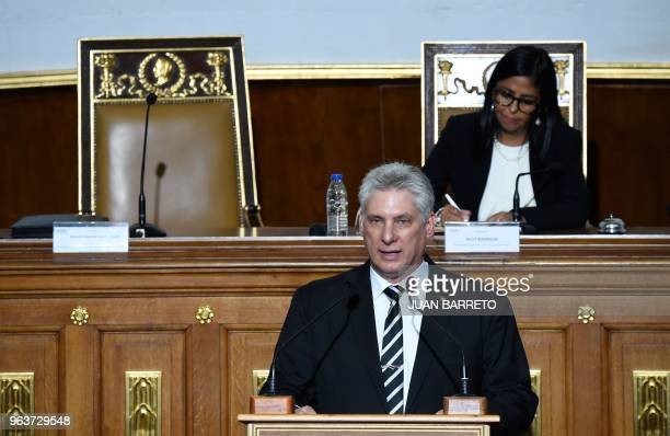 Cuban President Miguel Diaz-Canel delivers a speech before the Constituent Assembly, presided by Delcy Rodriguez , in Caracas on May 30, 2018. -...