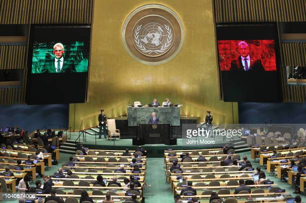 Cuban President Miguel Mario DíazCanel Bermúdez addresses the United Nations General Assembly on September 26 2018 in New York City World leaders are...