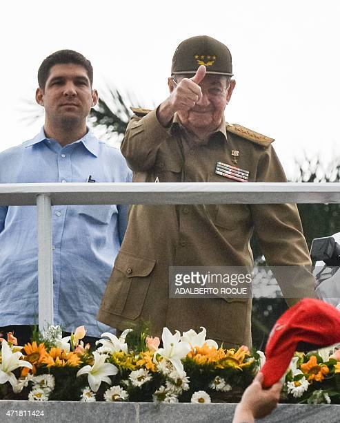 Cuban President Raul Castro gestures during the May Day celebrations on May 1 2015 in Havana AFP PHOTO/ADALBERTO ROQUE