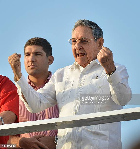 Cuban President Raul Castro gstures during the May Day celebration workers parade in Havana on May 1 2014 AFP PHOTO/ADALBERTO ROQUE
