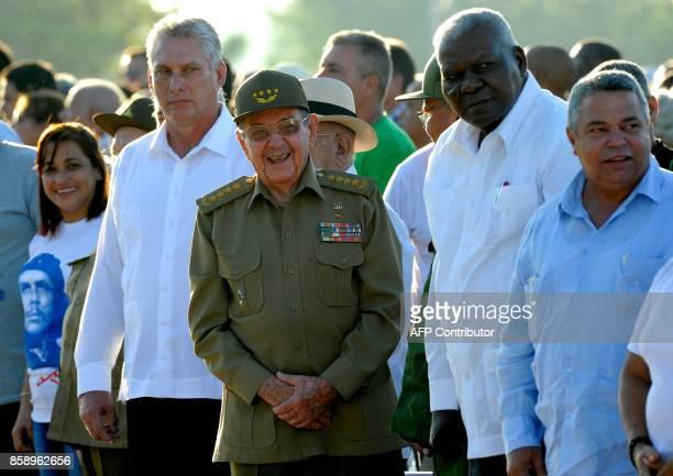 Cuban President Raul Castro participates in the commemoration of the 50th anniversary of Ernesto Che Guevara's death at the Che Guevara Memorial in...