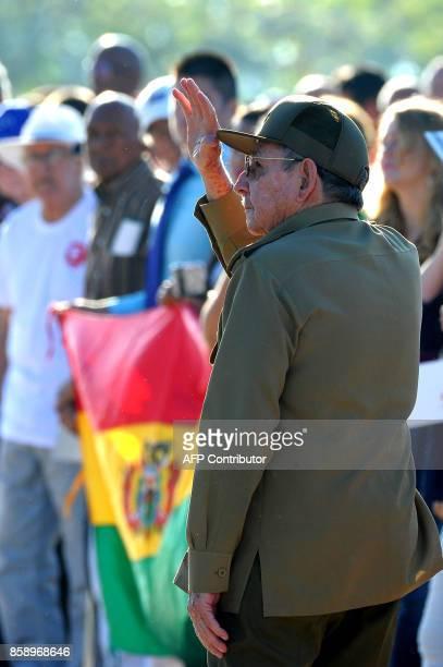 Cuban President Raul Castro participates in the commemoration of the 50th anniversary of Ernesto 'Che' Guevara's death at the Che Guevara Memorial in...
