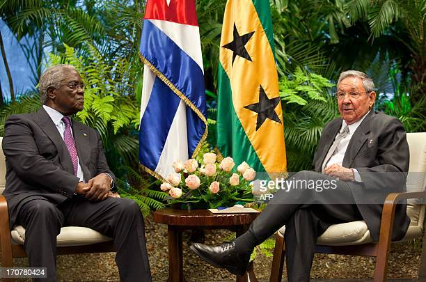 Cuban President Raul Castro talks with Sao Tome and Principe President Manuel Pinto da Costa on June 17 at Revolution Palace in Havana AFP PHOTO/...