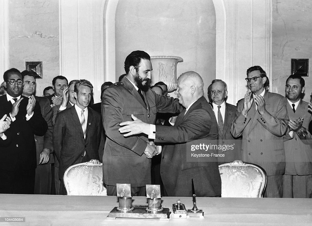 Khrushchev And Castro Signing The Soviet-Cuban Pact : News Photo