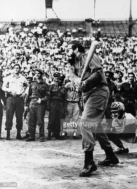Cuban Prime Minister Fidel Castro who insisted on having a turn batting at the opening of a baseball tournament in Havana