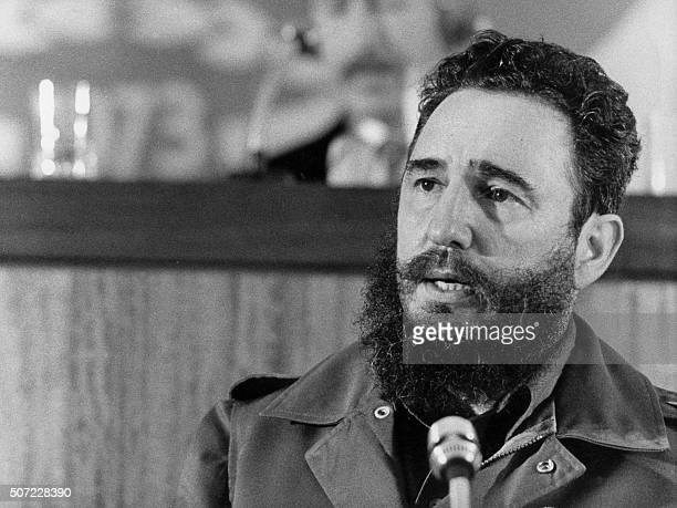 Cuban Prime Secretary of the Cuban Communist party and President of the State Council Fidel Castro addresses 13 September 1973 in Algiers the fourth...