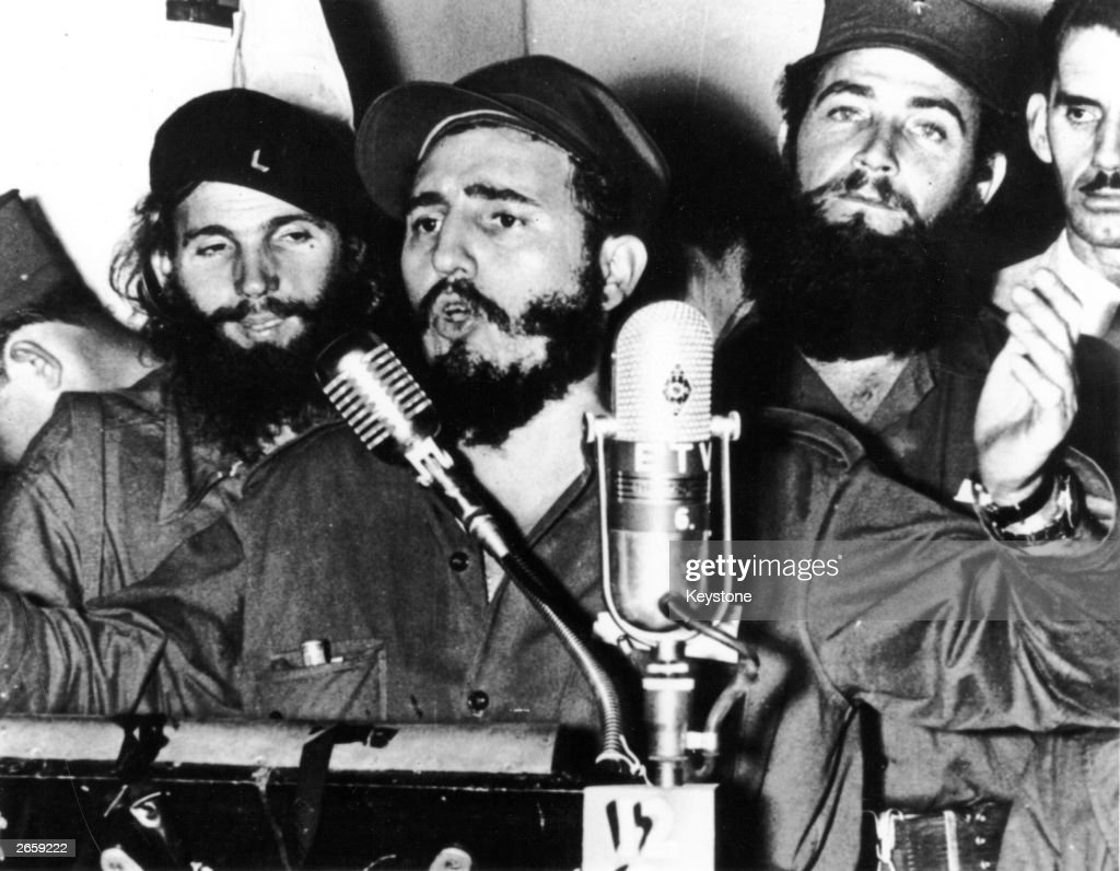 Cuban revolutionary Fidel Castro during an address in Cuba after Batista was forced to flee.