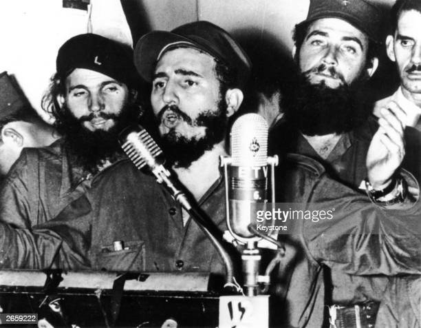 Cuban revolutionary Fidel Castro during an address in Cuba after Batista was forced to flee