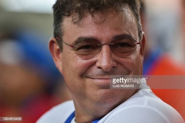 Cuban revolutionary leader Fidel Castro's son Antonio Castro Soto del Valle attends the Men's Weightlifting 105 kg Snatch final event during the 2018...