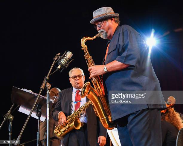 Cuban saxophonist Cesar Lopez and American saxophonist Joe Lovano perform at the National Theatre of Cuba during the 33rd International Jazz Plaza...