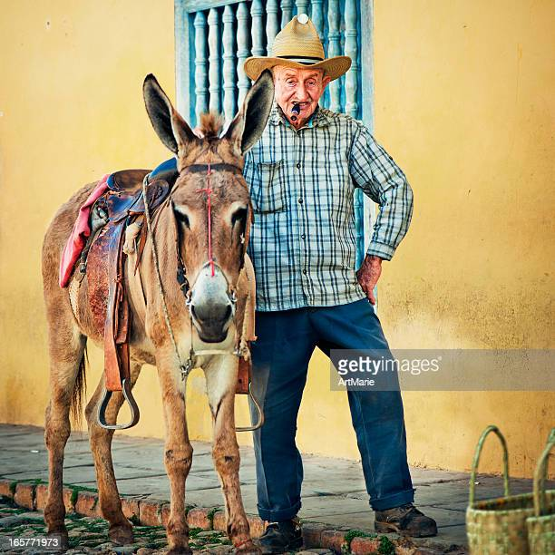 Cuban senior man and his donkey