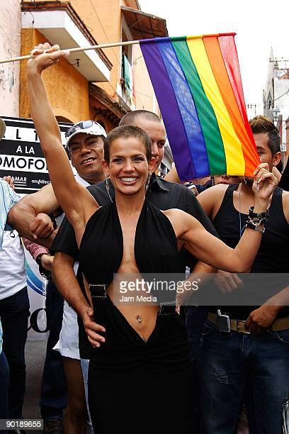Cuban singer and actress Niurka Marcos marches in at the Fifth Gay Pride and Sexual Diversity Parade Morelos at Cuernavaca's downtown streets on...