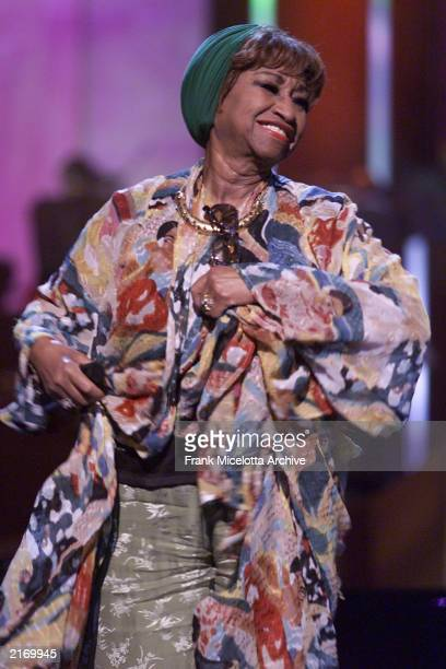 Cuban singer Celia Cruz rehearsing for the 'VH1 Divas Live The One and Only Aretha Franklin' at Radio City Music Hall in New York City April 9 2001...