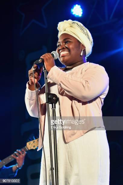 Cuban singer Dayme Arocena performs at Casa de la Cultura de Plaza during the 33rd International Jazz Plaza Festival on January 19 2018 in Havana Cuba
