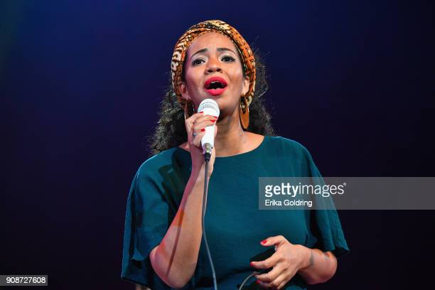 Cuban singer Eme Alfonso performs at the National Theatre of Cuba during the 33rd International Jazz Plaza Festival on January 21 2018 in Havana Cuba
