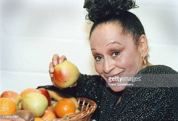 Cuban singer Omara Portuondo poses for a portrait with a bowl of fruit at Vredenburg in Utrecht, Netherlands on June 14 1999.