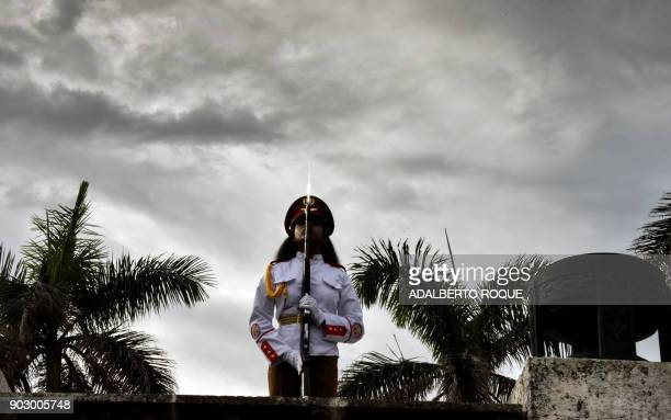 Cuban soldier is pictured during the welcome ceremony for Ethiopian President Mulatu Teshome Wirtu at the grave of Cuban fighters dead in Africa...