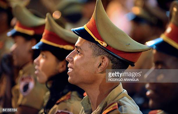 Cuban soldiers listen to a speech on January 1 2009 during the celebration of the 50th anniversary of the Cuban Revolution in Santiago de Cuba...