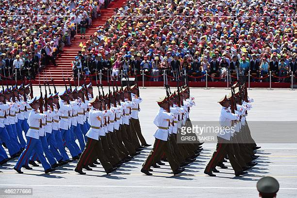 Cuban soldiers march as they take part in a military parade at Tiananmen Square in Beijing on September 3 to mark the 70th anniversary of victory...