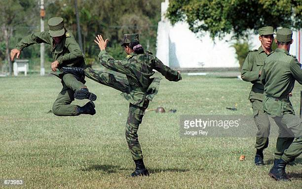 Cuban soldiers receive combat training at the Cadets School Antonio Maceo November 28 30 kilometers East of Havana The Armed Forces of Cuba will...