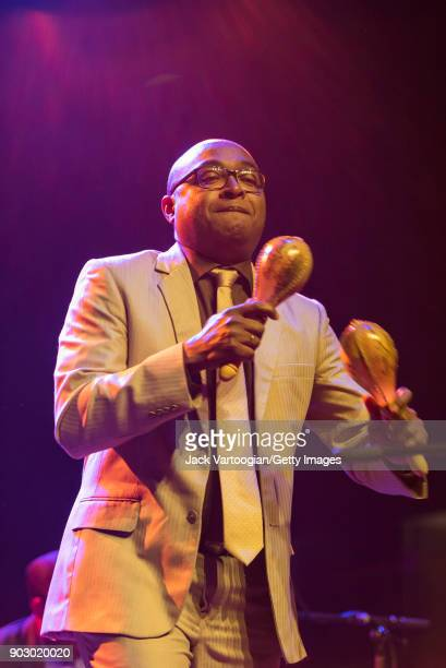Cuban Son cubano musician Inocencio Heredia plays maracas as he performs with the group Septeto Santiaguero during GlobalFest 2017 on Webster Hall's...