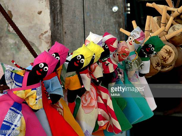 cuban souvenir. puppets and maracas for sale in trinidad cuba. - cuban doll stock pictures, royalty-free photos & images