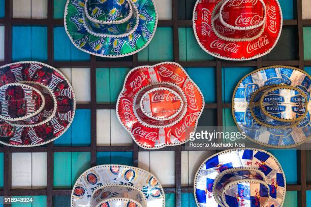 Cuban souvenirs hats made of aluminum pop cans The items are for sale at the Las Morlas tourist plaza