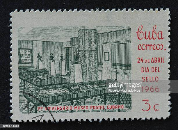 Cuban stamp commemorating the 1st anniversary of the Postal Museum of Cuba CUBA CIRCA 1966