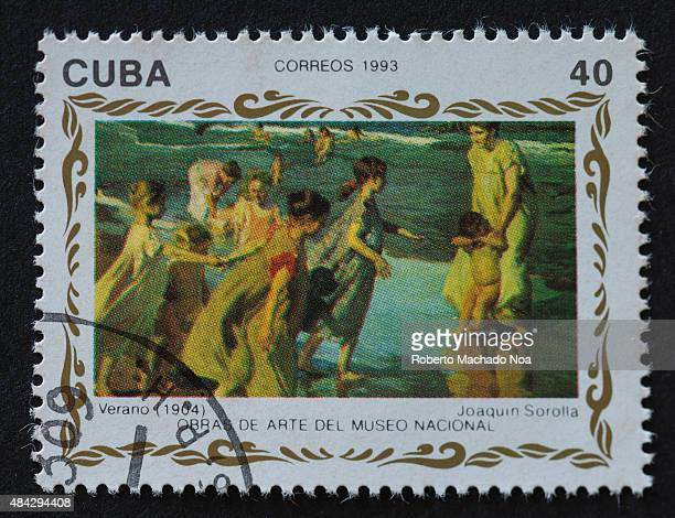 Cuban stamp depicting children at sea, painted by Joaquin Sorolla. Cuba correos 1993 Verano 1904 - Joaquin Sorolla. Obras de arte del museo nacional.
