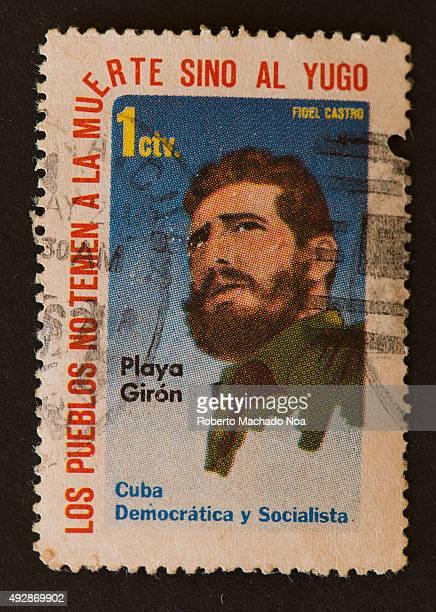 Cuban stamp showing a portrait of Fidel Castro with the phrase 'Los pueblos no temen a la muerte sino al yugo' meaning 'our people do not fear death...