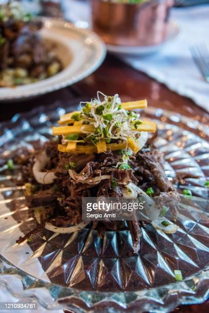 cuban vaca frita with tostones and cilantro - creole culture stock pictures, royalty-free photos & images