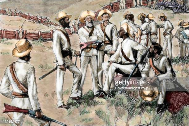 Cuban War of Independence against Spain Command post in Santa Clara Insurgents led by Maximo Gomez Colored engraving